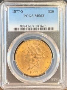 1877-S $20 MS62 PCGS