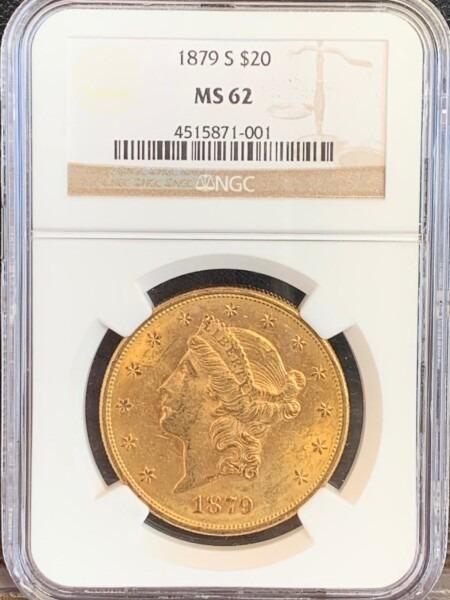 1879-S $20 MS62 NGC