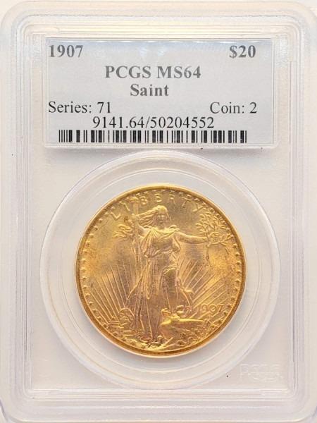 1907 $20 NO MOTTO MS64 PCGS