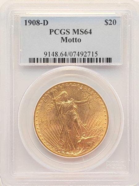 1908-D $20 MOTTO MS64 PCGS