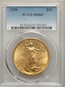 1920 $20 MS63 PCGS