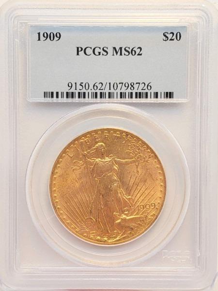 1909 $20 MS62 PCGS