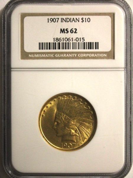 1907 $10 No Motto 62 NGC