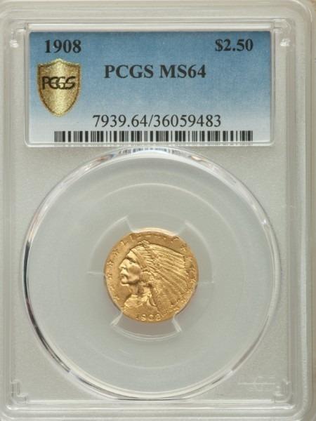 1908 $2 1/2 MS64 PCGS Secure