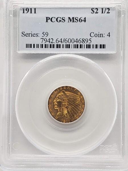 1911 $2 1/2 MS64 PCGS
