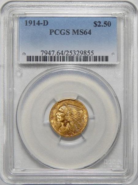 1914-D $2 1/2 MS64 PCGS