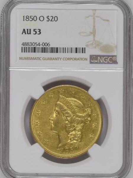 1850-O $20 AU53 NGC