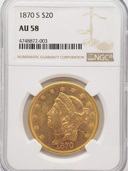 1870-S $20 AU58 NGC
