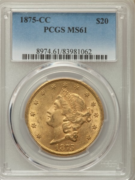 1875-CC $20 MS61 PCGS