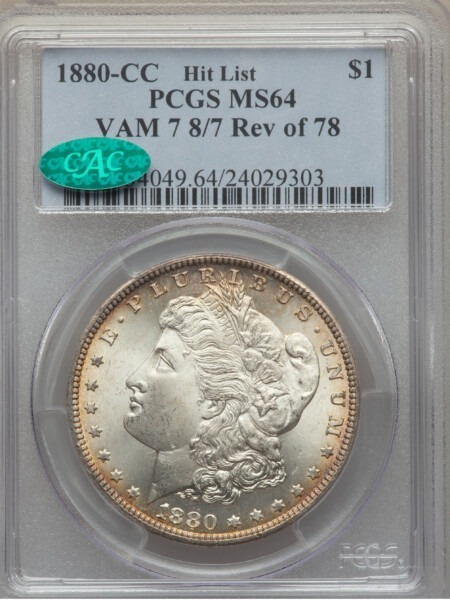1880-CC S$1 8/7 Rev of 78 64 PCGS CAC