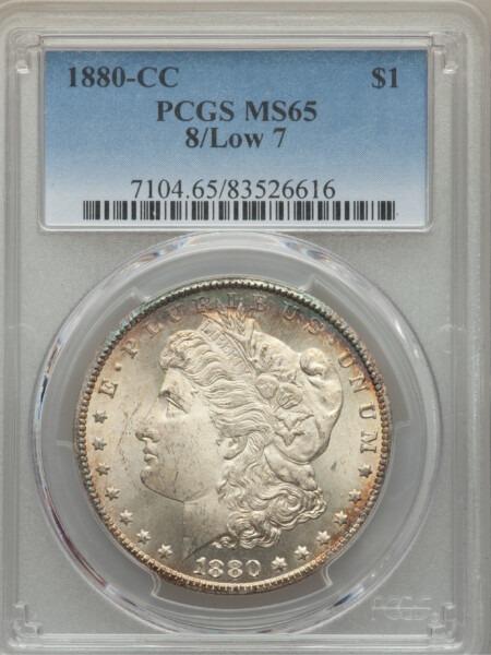 1880-CC S$1 8/Low 7 65 PCGS