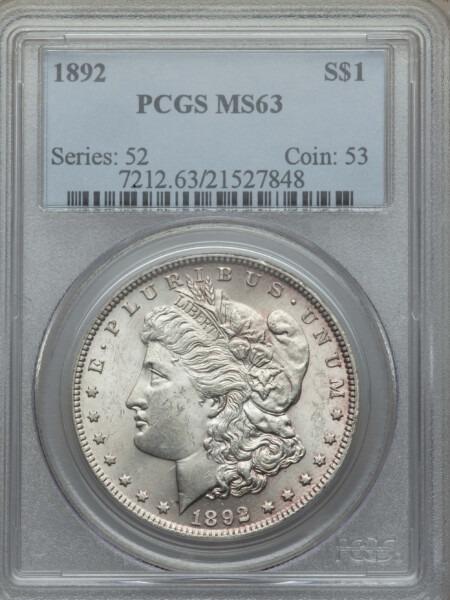 1892 S$1 63 PCGS