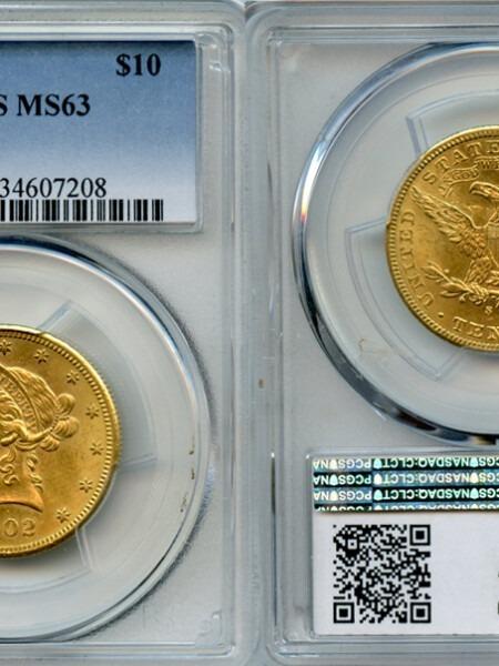 1902-S $10 MS63 PCGS