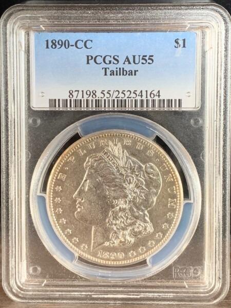 1890-CC Tailbar S$1 55 PCGS