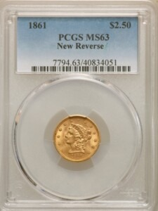 1861 $2 1/2 MS63 PCGS