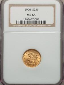 1900 $2 1/2 MS65 NGC
