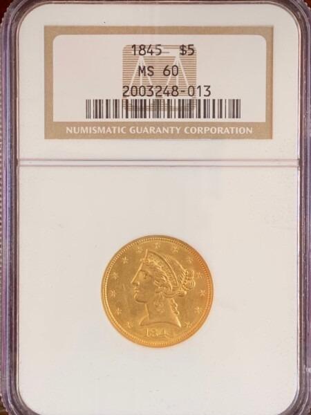 1845 $5 60 NGC