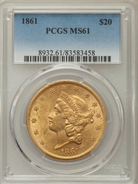 1861 $20 61 PCGS