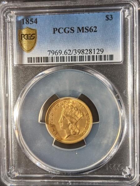 1854 $3 MS62 PCGS Secure